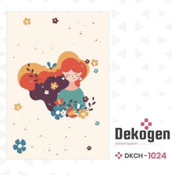 Çiçek Detaylı Uzun Saçlı Güzel Kız Kız Çocuk Odası Halısı-DKCH-1024