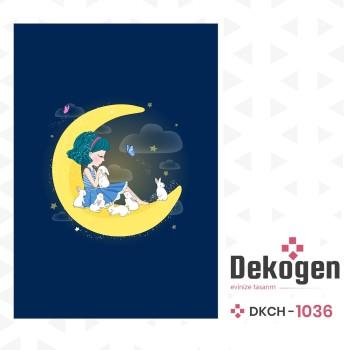Ay Üstünde Oturan Kız ve Tavşanları Kız Çocuk Odası Halısı-DKCH-1036