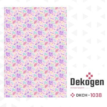 Karışık Davul - Maske - Tüy Desenli Kız Çocuk Odası Halısı-DKCH-1038