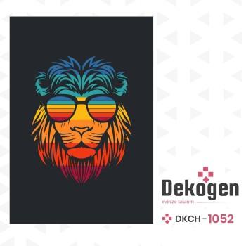 Koyu Zemin Aslan Figürlü Genç Çocuk Odası Halısı-DKCH-1052