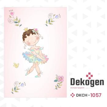 Çiçek Detaylı Balerin Prenses Kız Çocuk Odası Halısı-DKCH-1057