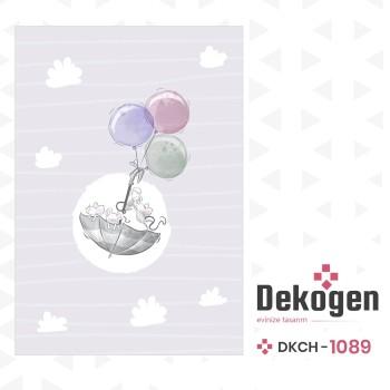 Bulut Detaylı Balonla Uçan Minik Fareler Desenli Erkek Çocuk Odası Halısı-DKCH-1089