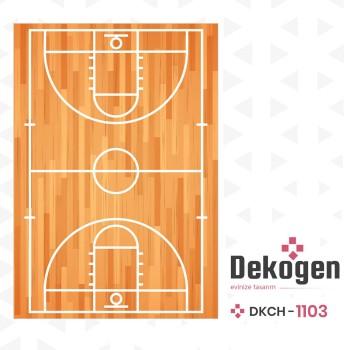 Basketbol  Sahası Ahşap Detaylı  Erkek  Çocuk Odası Halısı