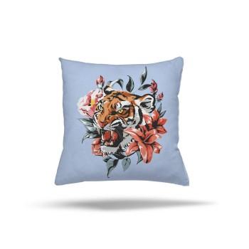 Çiçek ve Yaprak Detaylı Mavi Zemin Genç Çocuk Odası Kırlent-DKCY-1015