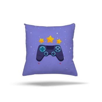 Mavi  Zeminli Yıldız  Detaylı Gamepad Gamer Odası Kırlent-DKCY-1063
