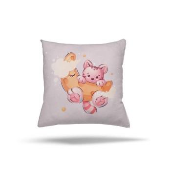Bulut Detaylı Aya Tırmanan Minik Kedi Kız Çocuk Odası Kırlent-DKCY-1072