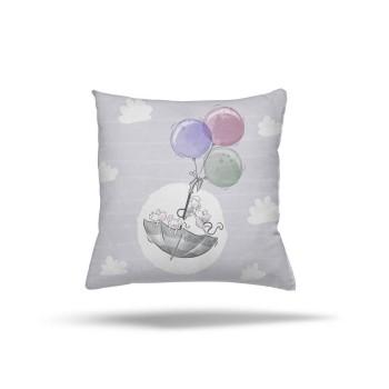 Bulut Detaylı Balonla Uçan Minik Fareler Desenli Erkek Çocuk Odası Kırlent-DKCY-1089