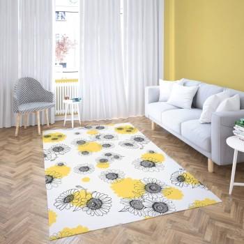 Açık Zeminli Modern Sarı Siyah Papatya Ayrıntılı Dekoratif Halısı-DKDH-3019