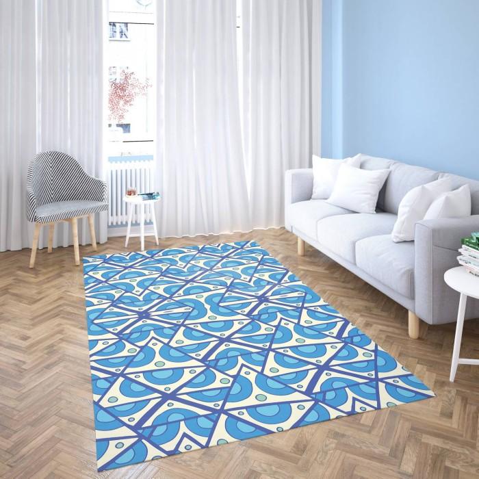 Mavi Tonlarda Geometrik Şekiller Dekoratif Halısı