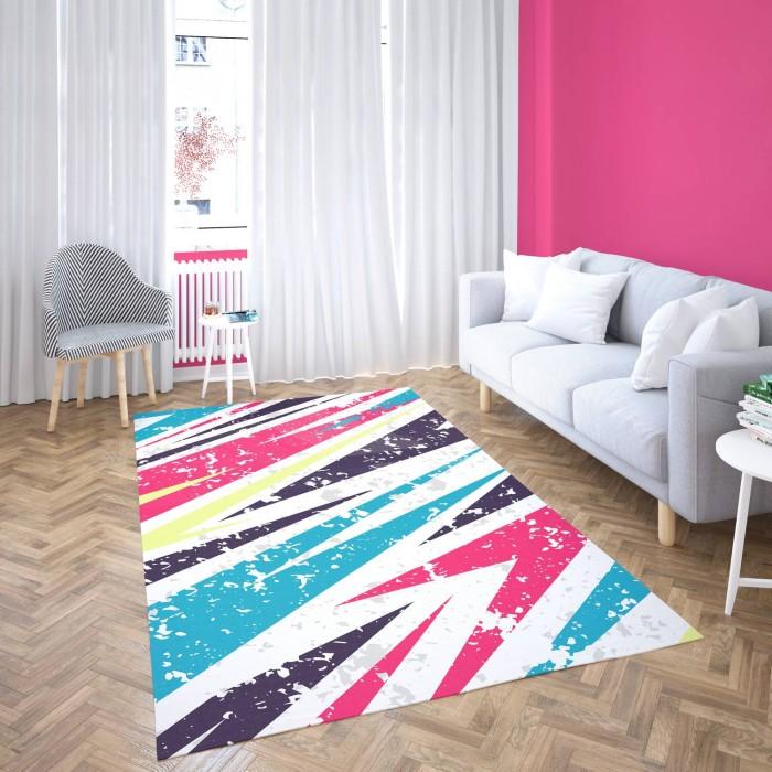 Açık Zeminli  Renkli Asimetrik  Desenli Dekoratif Halısı