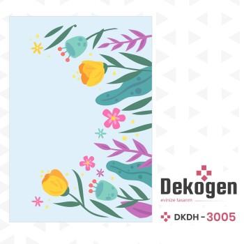 Lale  Figürlü Mavi Zeminli Dekoratif Halısı-DKDH-3005