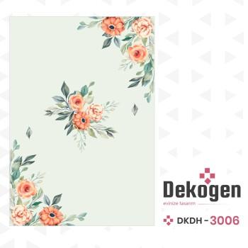 Açık Zeminli Köşeler Çiçek Desenli Dekoratif Halısı-DKDH-3006