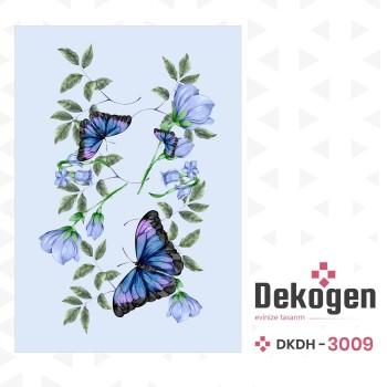 Çiçekler Yapraklar ve Kelebekler Dekoratif Halısı-DKDH-3009