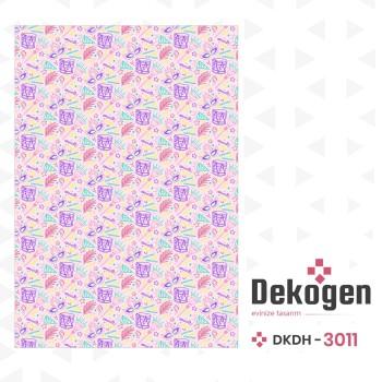 Karışık Davul - Maske - Tüy Desenli Pembe  Dekoratif Halısı-DKDH-3011