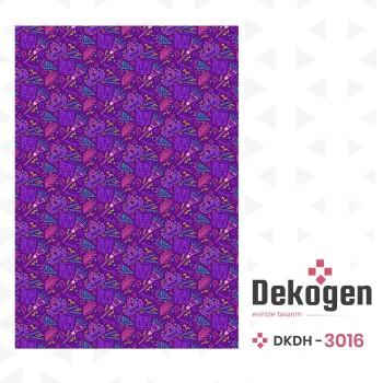 Karışık Davul - Maske - Tüy Desenli Mor  Dekoratif Halısı-DKDH-3016