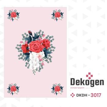 Açık Zeminli Büyük Çiçek Desenli Dekoratif Halısı-DKDH-3017
