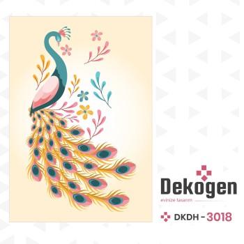 Açık Zeminli Modern Tavus Kuşu Dekoratif Halısı-DKDH-3018
