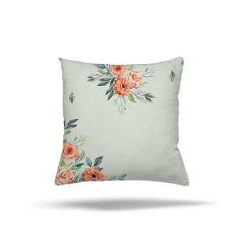 Açık Zeminli Köşeler Çiçek Desenli Dekoratif Kırlent-DKDY-3006