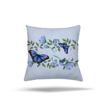 Çiçekler Yapraklar ve Kelebekler Dekoratif Kırlent-DKDY-3009