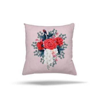 Açık Zeminli Büyük Çiçek Desenli Dekoratif Kırlent-DKDY-3017