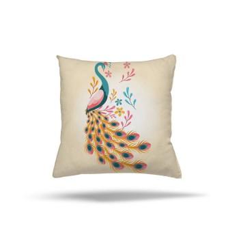 Açık Zeminli Modern Tavus Kuşu Dekoratif Kırlent-DKDY-3018