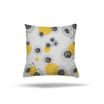 Açık Zeminli Modern Sarı Siyah Papatya Ayrıntılı Dekoratif Kırlent-DKDY-3019