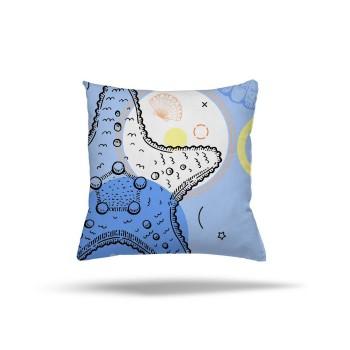 Deniz Yıldızı Ayrıntılı Mavi Zemin Dekoratif Kırlent-DKDY-3022