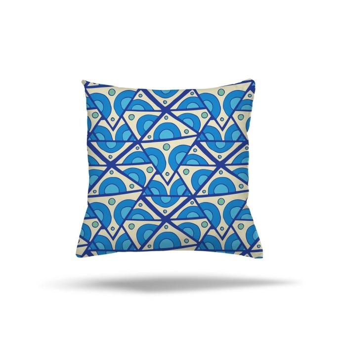 Mavi Tonlarda Geometrik Şekiller Dekoratif Kırlent